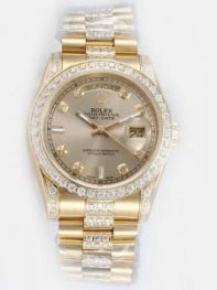 Rolex Day Date Golden Dial CZ Diamond And Bar Ho