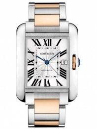 Cartier Tank Anglaise Steel & Rose Gold Mens Watch W5310