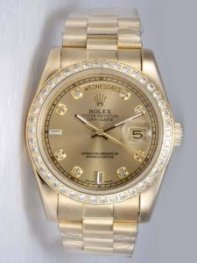 Rolex Day Date Golden Dial With CZ Diamond And B