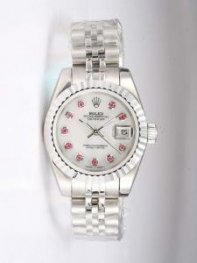 Rolex DATEJUST Silver Dial With Bright Red CZ Di