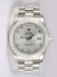 Rolex Day Date Silver Dial With CZ Diamond And B