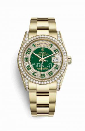 Rolex Day-Date 36 118388 Green diamond paved Dial Watch Replica