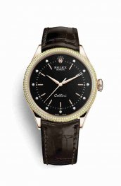 Rolex Cellini Time Everose gold 50605RBR Black diamonds Watch Replica