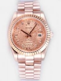 Rolex DATEJUST Pink Dial With CZ Diamond Hour M
