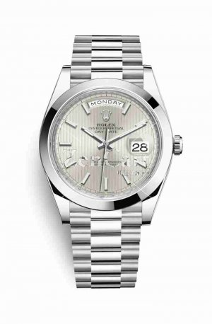 Rolex Day-Date 40 Platinum 228206 Silver stripe motif Dial Watch Replica