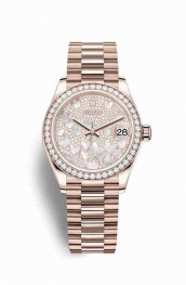 Rolex Datejust 31 Everose gold 278285RBR Paved mother-of-pearl butterfly Dial Watch Replica