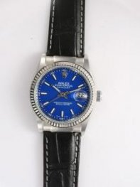 Rolex DATEJUST Blue Dial With Bar Hour Markers