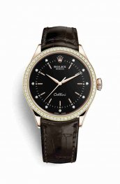 Rolex Cellini Time 18ct Everose gold 50705RBR Black diamonds Replica