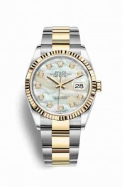 Rolex Datejust 36 Yellow 126233 White mother-of-pearl diamonds Watch Replica
