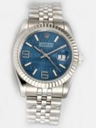 Rolex Date Blue Dial With White Bar And Arabic N