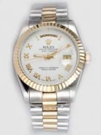 Rolex Day Date White Dial With Roman Hour Marke