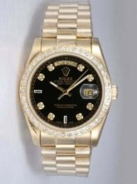 Rolex Day Date Black Dial With CZ Diamond And Ba