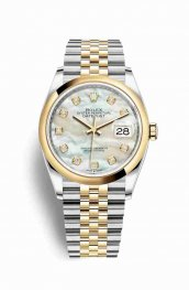 Rolex Datejust 36 Yellow 126203 White mother-of-pearl diamonds Watch Replica
