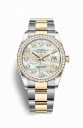 Rolex Datejust 36 Yellow 126283RBR White mother-of-pearl diamonds Watch Replica