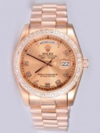 Rolex Day Date Salmon Dial With Arabic Hour Mark