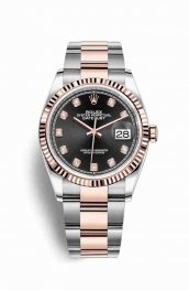 Rolex Datejust 36 Everose gold 126231 Black diamonds Watch Replica