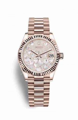 Rolex Datejust 31 Everose gold 278275 Paved mother-of-pearl butterfly Dial Watch Replica