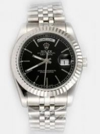 Rolex Day Date Black Dial With Bar Hour Markers