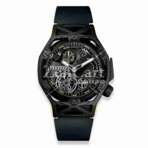 Hublot Techframe Ferrari Tourbillon Chronograph Carbon Yellow 408.QU.0129.RX 45mm Replica