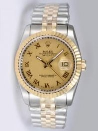Rolex DATEJUST Golden Dial With Roman Hour Marke
