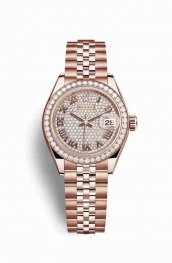 Rolex Datejust 28 Everose gold 279135RBR Diamond-paved Dial Watch Replica