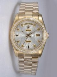 Rolex Day Date Etched Silver Dial CZ Diamond Hou