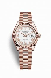 Rolex Datejust 28 Everose gold 279175 White Dial Watch Replica