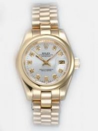 Rolex DATEJUST Silver Dial With CZ Diamond Hour