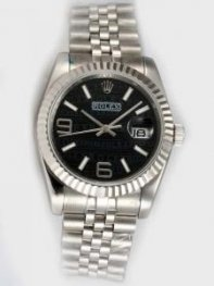 Rolex Date Black Dial With White Bar And Arabic