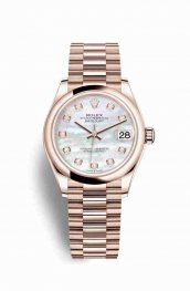 Rolex Datejust 31 Everose gold 278245 White mother-of-pearl diamonds Watch Replica