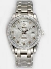 Rolex Day Date Etched Silver Dial With CZ Diamon