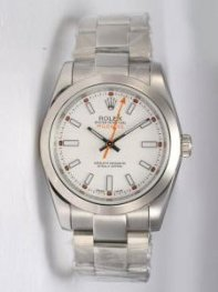 Rolex Milgauss White Dial Shaped White Bar Hour