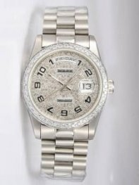 Rolex Day Date Iced Silver Dial With Arabic Hour