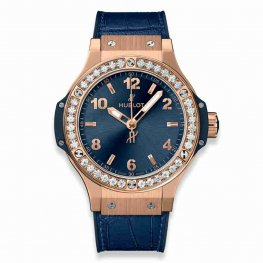 Hublot Big Bang Gold Blue Diamonds 38mm 361.PX.7180.LR.1204 Replica Watch