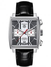 Tag Heuer Monaco Automatic Chronograph Black Dial Black Leather CAW211N.FC6177 Replica