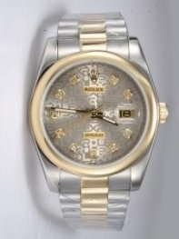 Rolex DATEJUST Etched Grey Dial With CZ Diamond