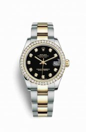 Rolex Datejust 31 Yellow 178383 Black diamonds Watch Replica