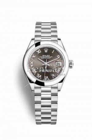Rolex Datejust 28 Platinum 279166 Dark grey Dial Watch Replica