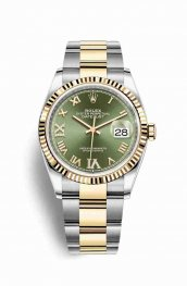 Rolex Datejust 36 Yellow 126233 Olive green diamonds Watch Replica