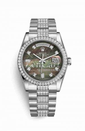 Rolex Day-Date 36 Platinum 118346 Black mother-of-pearl diamonds Watch Replica