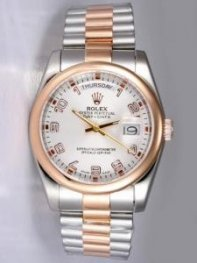 Rolex Day Date Silver Dial With Shaped Hour Mark
