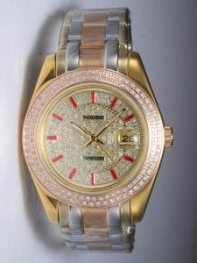 Rolex DATEJUST Iced Golden Dial With Red Bar Hou