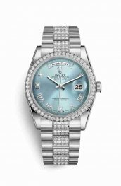 Rolex Day-Date 36 Platinum 118346 Ice blue Dial Watch Replica
