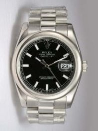 Rolex DATEJUST Black Dial With White Bar Hour Ma