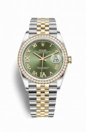 Rolex Datejust 36 Yellow 126283RBR Olive green diamonds Watch Replica
