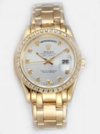 Rolex Day Date White Dial With CZ Diamond Hour M