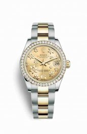 Rolex Datejust 31 Yellow 178383 Champagne raised floral motif Dial Watch Replica