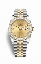 Rolex Datejust 36 Yellow 126283RBR Champagne diamonds Watch Replica