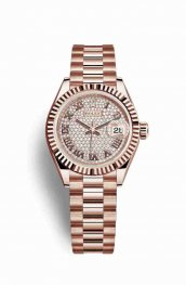 Rolex Datejust 28 Everose gold 279175 Diamond-paved Dial Watch Replica