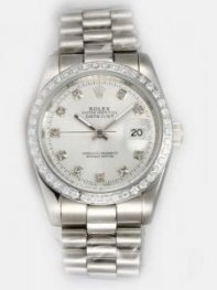 Rolex DATEJUST White Dial With CZ Diamond Hour M
